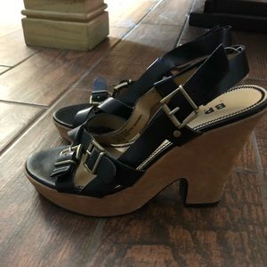BP. Black buckled strappy heels- size 8